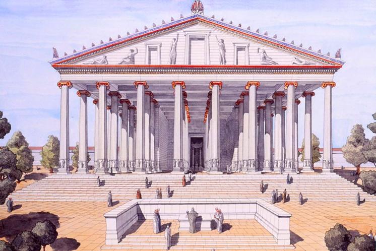 Restitution du temple d'Artémis à Éphèse par J. C. Golvin